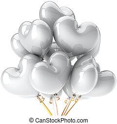 coração, branca, balões, dado forma