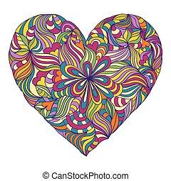 coração, branca, coloridos, fundo
