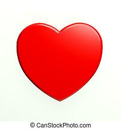 coração, branca, encantador, vermelho, backgroun
