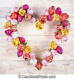 Coração, branca, flor, madeira, fundo