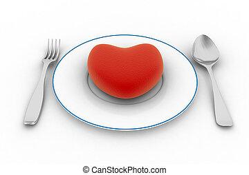 coração, branca, isolado, prato