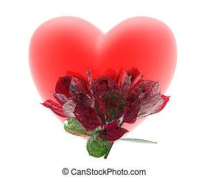 coração, branca, isolado, vermelho