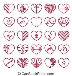 coração, branca, jogo, fundo, ícones