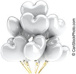 coração, branca, total, balões, dado forma