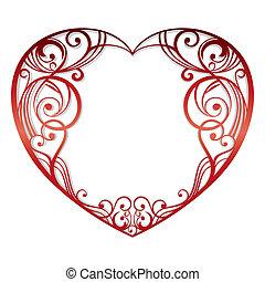 coração, branco, fundo