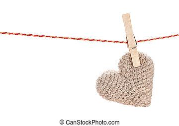 Coração, brinquedo,  valentines, corda, penduradas, Dia