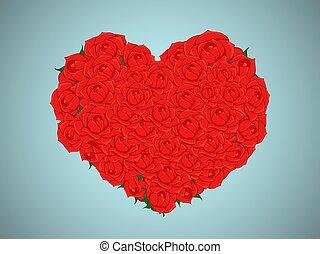 coração, buquet, valentine, rosas, forma, vermelho