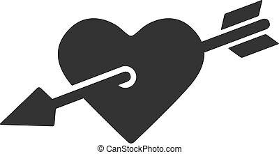 coração, bw, -, ícone seta
