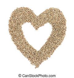 coração, cânhamo, sementes