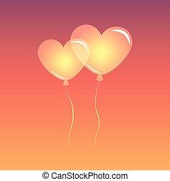 coração, céu, balões, dado forma