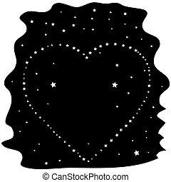 coração, céu noite, estrelas, pretas