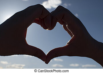 coração, céu, pôr do sol, mãos