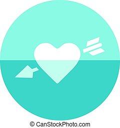 coração, círculo, -, ícone seta