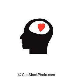 coração, cabeça, fundo, símbolo, human, branca