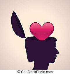 coração, cabeça, símbolo, human
