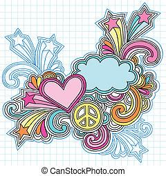 coração, caderno, nuvem, doodles
