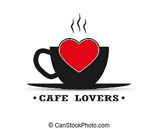 coração, café, amantes, inscrição, xícara chá, quentes, café, ou
