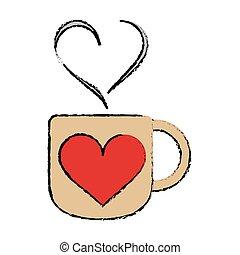 coração, café, amor, copo, quentes, caricatura