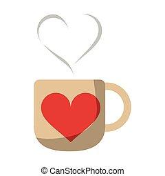 coração, café, amor, símbolo, aroma