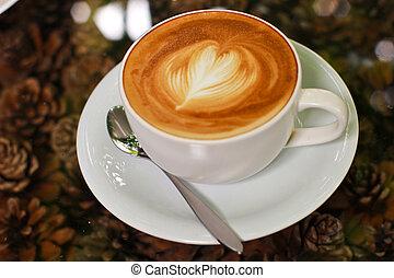 coração, café, cappuccino, latte, forma, ou