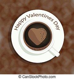 Coração, café, coloridos, copo, ocasiões, imagem,  valentines, FORMA, outro, fundo, Dia