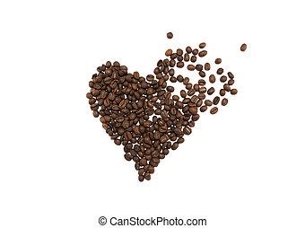 coração, café, feito, feijões, fundo, esmagado, branca