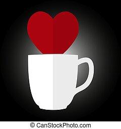 coração, café, silueta, copo, chá, ou