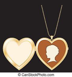 coração, camafeu, locket, ouro, vindima