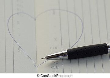 coração, caneta, sinal, desenhado, paperpad