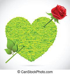 coração, capim, seta, rosa