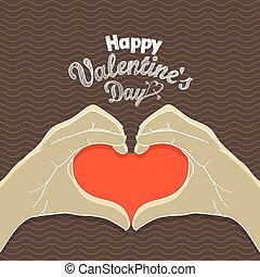 coração, card., valentines, saudação, mãos, dia, feliz