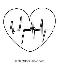 coração, cardiograma, ícone