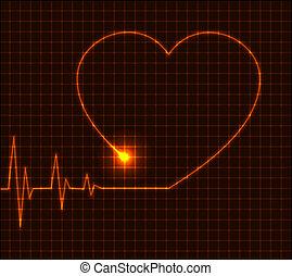 coração, cardiograma, abstratos, -, ilustração, vetorial