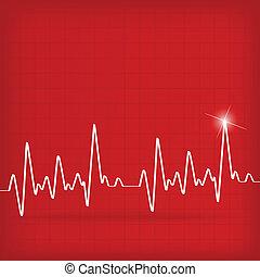 coração, cardiograma, batidas, fundo, branco vermelho