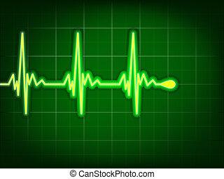 coração, cardiograma, eps, profundo, aquilo, 8, green.