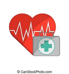 coração, cardiograma, equipamento, ajuda, ícone, primeiro