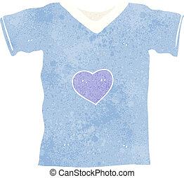 coração, caricatura, amor, camisa, t