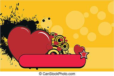 coração, caricatura, fundo, valentine2