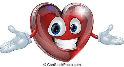 coração, caricatura, ilustração, homem
