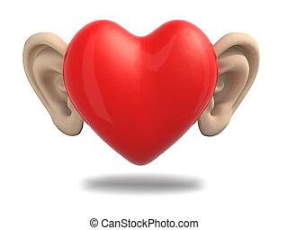 coração, caricatura, orelhas