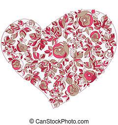 coração, cartão postal, vindima, saudação, forma, flores