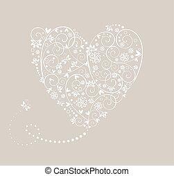 coração, casório, cartão, pastel
