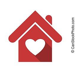 coração, casa, isolado, branco vermelho, ícone