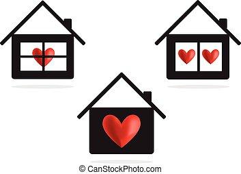 coração, casa, vetorial, ícone