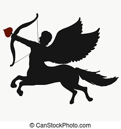 coração, cavalo, corporal, winged, arco, seta, tiros, homem