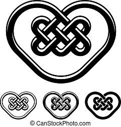 coração, celta, símbolos, vetorial, pretas, branca