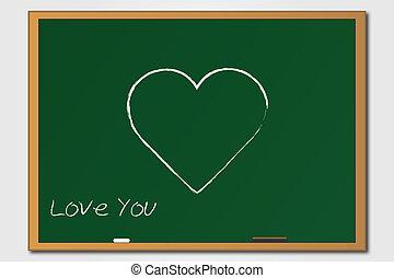 coração, chalkboard verde