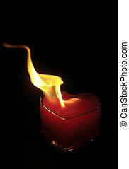 coração, chama, queimadura
