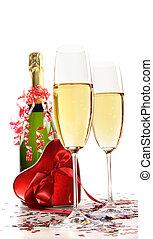 coração, champanhe, fita, vermelho, óculos