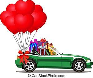 coração, cheio, cabriolé, presente, car, caixas, balões, vermelho, grupo